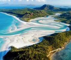 Whitehaven Beach at Whitsunday Island, Australia This beach is known for its beautiful white sands, which are believed to have been brought to the beach from sea currents over millions of years. The sand is very fine and does not retain heat, making it comfortable for a barefoot walk along the shore. It can also damage electronics, so keep your cell phones and cameras in a safe place!