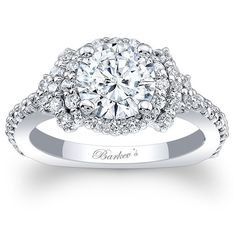 Barkev's 14K White Gold Elegance Halo Diamond Engagement Ring Featuring 0.72 Carats Round Cut Diamonds Style 7979L
