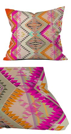 Get lost in the dreamy hues of a desert sunset with this colorful accent pillow. Made of 100% medium-weight woven polyester, this statement-making piece features a bold geometric design on the front an...  Find the Mojave Sunset Throw Pillow, as seen in the Vibrant Adobe Style Collection at http://dotandbo.com/collections/vibrant-adobe-style?utm_source=pinterest&utm_medium=organic&db_sku=118392