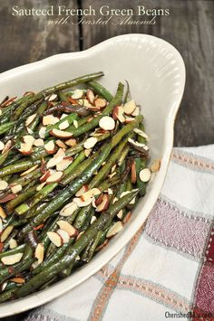 A great recipe for Sauteed French Green Beans with Toasted Almonds.  Although, if you want an easier version- I have been making mine like this for years with just frozen slender green beans simply sauteed in butter with the almonds.