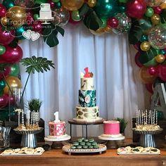 Safari themed dessert table #goldgreenandpink #tropical #cake #balloons #safari #safariparty #safarianimals #gold #cakepops #cookies #macarons #chocolatecoveredoreos #firstbirthday #glam Safari Party, Chocolate Covered Oreos, Safari Animals, Custom Cakes, Dessert Table, Macarons, First Birthdays, Sweet Treats, Balloons