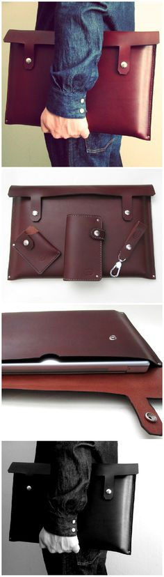 Oxblood or black leather laptop case. Matching wallet, card wallet and key loop too...