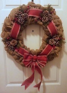Christmas Burlap Wreath with Country Red Ribbon, Pine Cones & Red Berries.