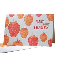 Pack of 6 Berry Thanks Letterpressed Thank You Cards made by Smock Paper Stationary .