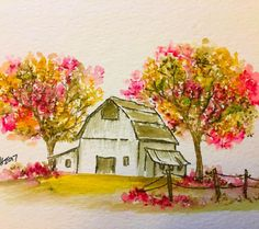 Art Impressions Blog: Old Barn Watercolor Old Barn Mini Set (Sku #4807) ... handmade water color card.