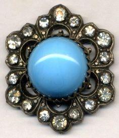Gorgeous Antique Turquoise Glass & Paste Jewel Button…Hexagon