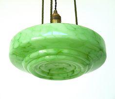 Art Deco Green Mottled Glass Bowl Ceiling Pendant Light by TimeTripping on Etsy