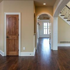 Louisville's exclusive Southern Living custom home builder. Hall Paint Colors, Stain Colors, Knotty Alder Doors, Tan Walls, Inside Doors, Interior Windows, Farmhouse Remodel, Home Remodeling, White Trim