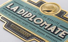 La Diplomate Packaging , identity and logo - French tea company// modernist type with classic detailing // teal gold and grey //