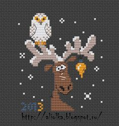 Cross Stitch this owl and moose  Christmas snow scene.You'll need to go to translate.google.com to translate the pattern  into your language.