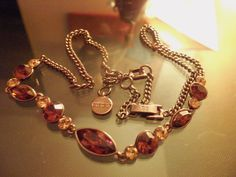 GIVENCHY SIGNED VINTAGE BRONZY/COPPER TOPAZ CRYSTAL AB RHINESTONE NECKLACE #Givenchy #Necklace