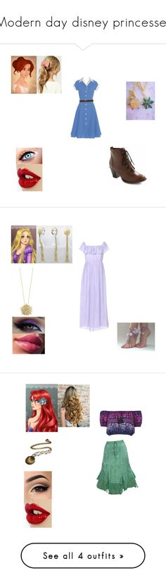 """""""Modern day disney princesses"""" by theglittergamer on Polyvore featuring kew.159, modern, Darling, Disney, Roberto Coin, Band of Gypsies, Office, Paige Denim and Forever 21"""