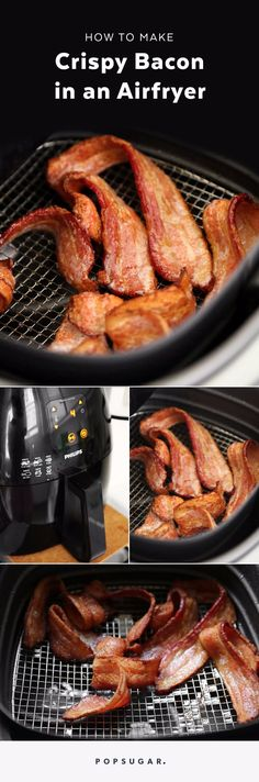 The Craziest Way to Cook Bacon So It's Simultaneously Crispy and Chewy Airfryers can do all things. - The Craziest Way to Cook Bacon So It's Simultaneously Crispy and Chewy Air Fryer Oven Recipes, Air Fry Recipes, Bacon Recipes, Cooking Recipes, Cooking Bacon, Easy Recipes, Cooking Lamb, Light Recipes, Drink Recipes
