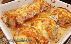 Burkolt csirkecombok Lasagna, Poultry, Cauliflower, Ale, Bacon, Food And Drink, Chicken, Meat, Vegetables