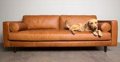 Mid Century Tan Leather Sofa