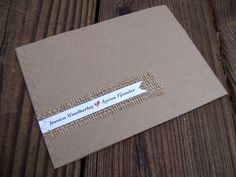 set of 100 Jessica Sewn Wedding Invitations - Burlap Rustic brown red black woodland. $410.00, via Etsy.  for 100 suite all inside. Lodging info can be changed to directions.