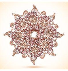 Vintage isolated mandala in indian mehndi style vector