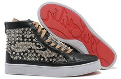 Christian Louboutin Python Sneakers Spiked High Top Red Sole