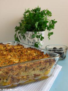 No Conforto da Minha Cozinha...: Bacalhau com Broa em Camadas...e uns testes para o...