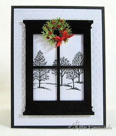 Memory Box Grand Masion Window  - love the black and white - tutorial on how to make the wreath with punch - bjl