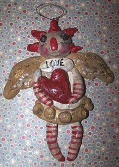 Folk Art Raggedy Ann Angel Doll Ornament by DollThreadsandClay, $18.00