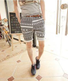 9dda1f2b1e Geometric Totem Print Street Style Fitting Polyester Shorts For Men  (BLACK,XL) | Sammydress.com