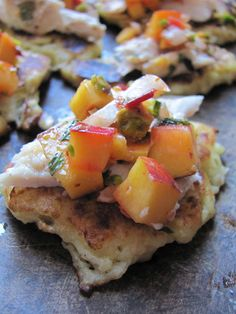 Baked Snoek on Potato Blinis with an Apricot, Mint and Pistachio Salsa