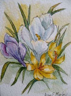 Artist Trading Card Watercolor of Crocus by Marleyart on Etsy, $12.99
