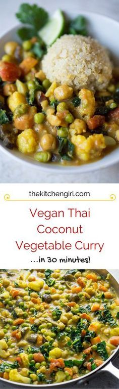 Thai Coconut Vegetable Curry Easy vegan Thai comfort food in plz! Uses everyday vegetables, curry powder, and coconut milk. Gluten free Vegan Thai Coconut Vegetable Curry Easy vegan Thai comfort food in plz! Uses everyday vegetables, curry Veggie Dishes, Veggie Recipes, Indian Food Recipes, Asian Recipes, Whole Food Recipes, Vegetarian Recipes, Cooking Recipes, Healthy Recipes, Supper Recipes