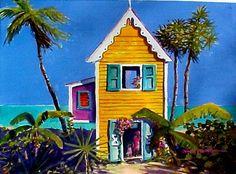 "Caribbean Art:  Canary ""Yellow House in Haiti"" - davidclough.com"