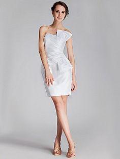 Strapless Pleated Taffeta Mini Wedding Dress with Bow Detail 0114537 - USD $136.86