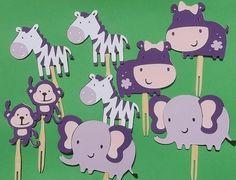 24 Safari Jungle Theme Cupcake Toppers,Purple,Diaper Cake Decor,Baby Shower,Birthday,Zoo Theme, Hippo Elephant Monkey Zebra