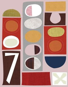 Jenn Ski - Giclee Print (item No. Mid Century Modern Art, Mid Century Art, Linocut Prints, Giclee Print, Retro Color Palette, Retro Vintage, Motif Design, Pattern Illustration, Contemporary Paintings