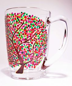 Handpainted coffee mug with a tree with by MxArtColorGlass on Etsy