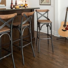 Kosas Home Dixon Rustic Brown and Black Reclaimed Pine and Iron Bar Stool - Free Shipping Today - Overstock.com - 16027627 - Mobile