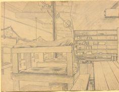 [Im Quartier], Bleistiftzeichnung ohne Datierung: Die linke Bildhälfte wird dominiert von unzähligen Stockbetten, die dicht aneinander gestellt den Raum füllen. Zur rechten Seite befindet sich ein Tisch, sowie ein Schrank mit der nötigen Ausrüstung. Bestand 192-31, Nr. 38.