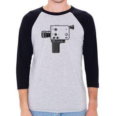 Braun Nizo 8mm Film Camera Men's 3/4 Sleeve, Baseball Shirt