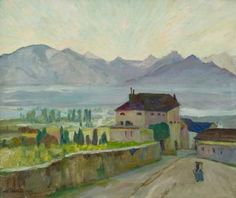 Городской пейзаж в горах Beats, Painting, Art, Switzerland, Kunst, Art Background, Painting Art, Paintings, Performing Arts