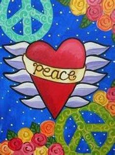 Peace and Love Illustration Peace ♥Heart♥ & ✌Peace Signs