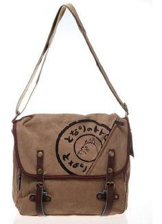 12953d80ef Studio Ghibli My Neighbor Totoro Canvas Leather Shoulder bag Handbag--  Brown  Amazon.co.uk  Clothing