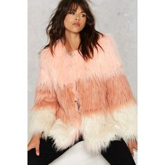 Pastel It To My Heart Coat ($94) ❤ liked on Polyvore featuring outerwear, coats, pink, fur coat, color block coat, red fur coat, pink fur coat and colorblock coat