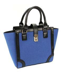 OL Style Contrast Color Lock Catch Shoulder Bag