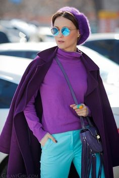 Elizabeth Sulcer Is the Woman Behind Your Favorite Street Style Looks – Fashion Outfits Lila Outfits, Purple Outfits, Colourful Outfits, Mode Outfits, Casual Outfits, Fashion Outfits, Womens Fashion, Fashion Trends, Purple Fashion