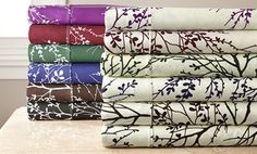 Groupon - Clearance: Foliage-Print Microfiber Sheet Set. Multiple Colors and Sizes Available. in Online Deal. Groupon deal price: $19.99