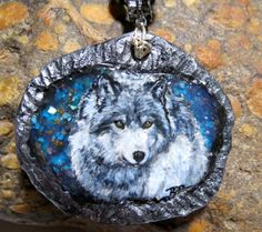 Starry Night Wolf handpainted Wildlife Art by BelleRayneJewelry, $65.00