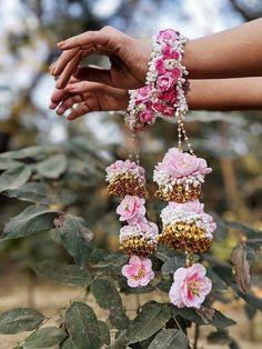 Pink Bride Kalira Golden Flower and Pearl Jewelry for Wedding Haldi Mehandi Function Indian Event Pearl Bride Fashion Jewelry Indian - Modern Flower Jewellery For Mehndi, Flower Jewelry, Hand Jewelry, Handmade Jewellery, Pearl Jewelry, Jewlery, Bridal Chura, Wedding Chura, Desi Wedding