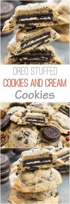 Oreo Stuffed Cookies and Cream Cookies. Double the cookies and cream flavor!