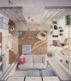 Rommet med skaparbeidstasjon ovenfra. Mye på liten plass (15 kvm)!