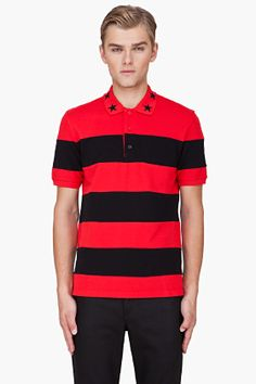 Givenchy Red Striped Embroidered Collar Polo for Men   SSENSE