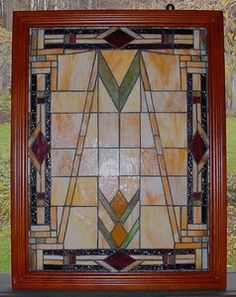 Mouse over image to zoom                                                                                                                           Have one to sell? Sell it yourself         Vintage Art Deco Craftsman Prairie School Doved Wood Frame Stained Glass Window